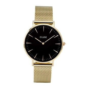 Ceas damă, curea din oţel inoxidabil Cluse La Bohéme, auriu-negru imagine