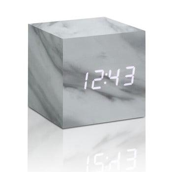 Ceas LED cu aspect de marmură Gingko Cube Click Clock, alb bonami.ro