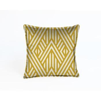 Pernă cu husă din catifea Velvet Atelier Lines,45x45cm, galben - alb poza bonami.ro