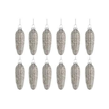 Set 8 ornamente din sticlă pentru Crăciun J-Line Cone, argintiu bonami.ro