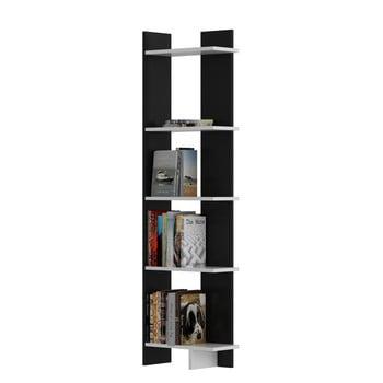 Bibliotecă cu detalii albe Als Black White, negru bonami.ro
