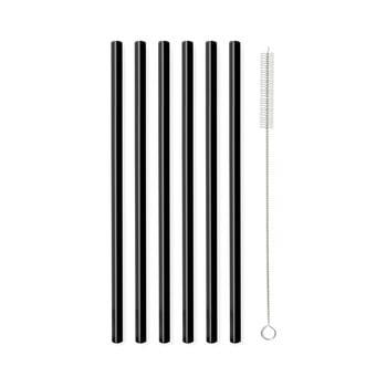 Set 6 paie din sticlă Vialli Design, lungime 20 cm, negru poza bonami.ro