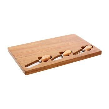 Set tocător din lemn de arbore de cauciuc și 3 cuțite pentru brânzeturi Premier Housewares, 23 x 37 cm bonami.ro