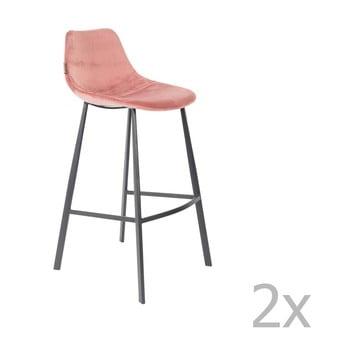 Set 2 scaune bar cu tapițerie catifelată Dutchbone, înălțime 106 cm, roz imagine