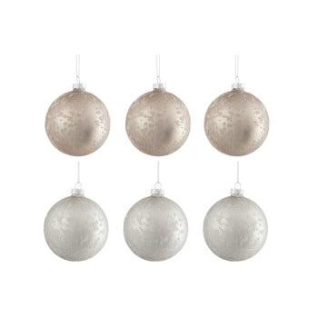 Set 6 globuri din sticlă pentru Crăciun J-Line Bauble, ø 8 cm, alb - bej bonami.ro