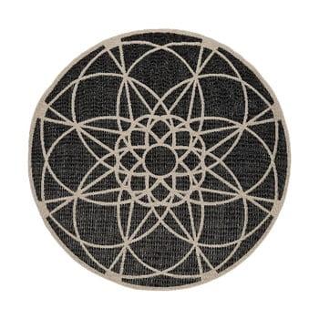 Covor adecvat pentru exterior Floorita Tondo Black, ⌀ 194 cm, negru imagine