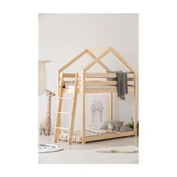 Cadru pat supraetajat din lemn de pin, în formă de căsuță Adeko Mila DMPB, 90 x 160 cm imagine