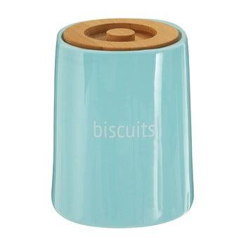 Recipient pentru biscuiți cu capac din lemn de bambus Premier Housewares Fletcher, 1,5 l, albastru poza bonami.ro