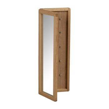 Dulăpior pentru chei, din lemn de stejar, cu oglindă, de culoare naturală Rowico Metro bonami.ro