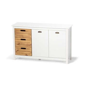 Dulap din lemn de pin și 5 sertare loomi.design Ibiza, alb imagine