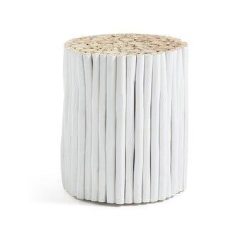 Taburet din lemn de tec La Forma Filippo, ø 35 cm, alb bonami.ro