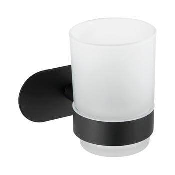 Recipient de perete pentru periuțe de dinți cu suport din oțel inoxidabil Wenko Uno Bosio Turbo-Loc®, alb - negru mat bonami.ro