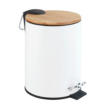 Coș de gunoi cu pedală Wenko Tortona Bamboo, 3l, alb poza bonami.ro