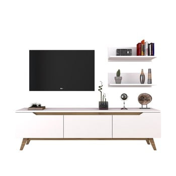 Set comodă TV și 2 etajere de perete Wren White, alb bonami.ro
