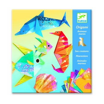 Set 24 hârtii origami cu instrucțiuni Djeco Neon Glam Sea poza bonami.ro