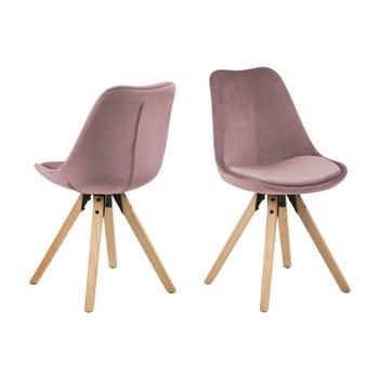 Set 2 scaune Actona Dima Velvet, roz bonami.ro