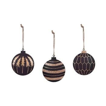 Set 3 decorațiuni pentru bradul de Crăciun Ego Dekor, auriu - negru bonami.ro