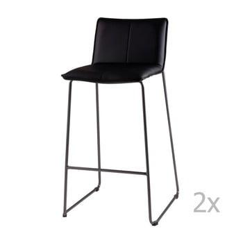 Set 2 scaune de bar sømcasa Lou, negru imagine