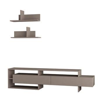 Set comodă TV și 2 rafturi de perete Homitis Gara, gri - maro imagine