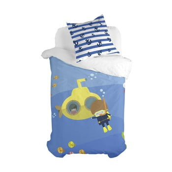 Lenjerie de pat din amestec de bumbac pentru copii Happynois Yellow Submarine, 140x 200cm bonami.ro