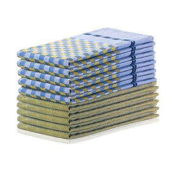 Set 10 prosoape de bucătărie din bumbac DecoKing Louie, 50 x 70 cm, galben muștar și albastru bonami.ro