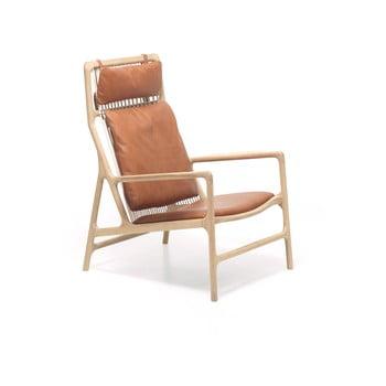 Fotoliu cu structură din lemn masiv de stejar şi șezut din piele bivol Gazzda Dedo, maro cognac imagine