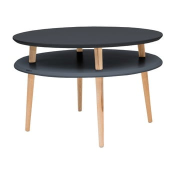 Masă de cafea cu picioare din lemn Ragaba UFO, Ø 70 cm, gri antracit imagine