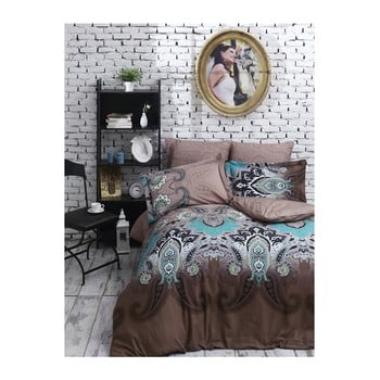 Lenjerie de pat din bumbac satinat și cearșaf Jessica Brown, 200 x 220 cm imagine