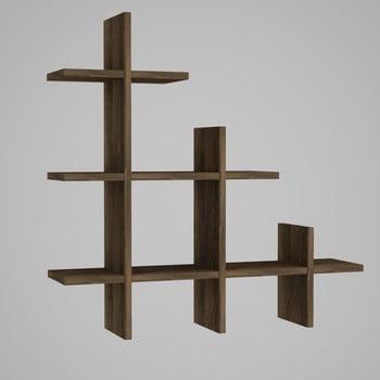 Etajeră de perete cu aspect de lemn de nuc Juke bonami.ro