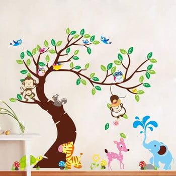 Set autocolante pentru perete Ambiance Tree, Monkeys and Elephant bonami.ro