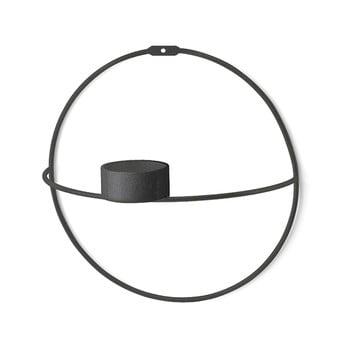 Set 2 sfeșnice de perete Circle, ø 21 cm, negru bonami.ro
