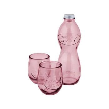 Set 1 sticlă și 2 pahare din sticlă reciclată Ego Dekor Water, roz bonami.ro