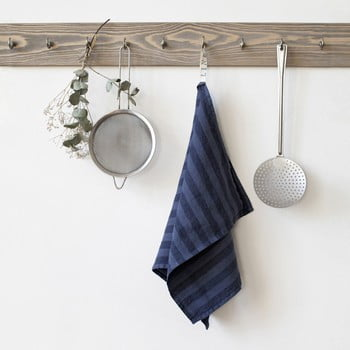 Prosop de bucătărie din in Linen Tales Stripe, 65x45cm, albastru închis bonami.ro