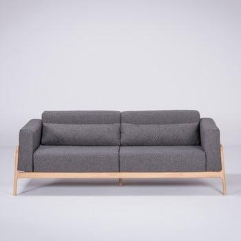 Canapea cu structură din lemn de stejar Gazzda Fawn, 210 cm, gri închis bonami.ro