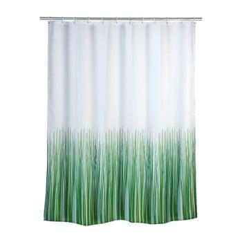 Perdea duș Wenko Nature, 180 x 200 cm, verde - alb poza bonami.ro