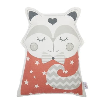 Pernă din amestec de bumbac pentru copii Mike & Co. NEW YORK Pillow Toy Smart Cat, 23 x 33 cm, roșu bonami.ro
