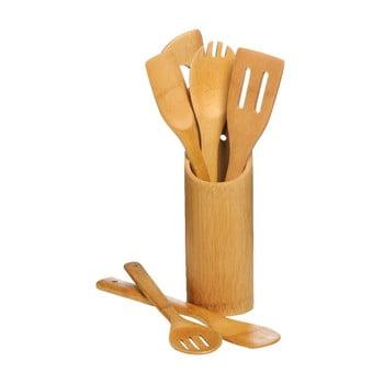 Set 6 ustensile de bucătărie cu suport Premier Housewares Bamboo Set poza bonami.ro