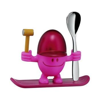 Suport pentru ou cu lingură WMF Cromargan® Mc Egg, roșu - roz poza bonami.ro