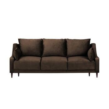 Canapea extensibilă cu husă din catifea și spațiu de depozitare Mazzini Sofas Freesia, 215 cm, maro bonami.ro