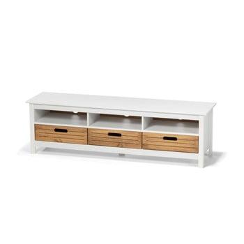 Comodă TV din lemn de pin și 3 sertare loomi.design Ibiza, alb imagine