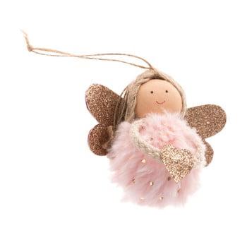 Decorațiune textilă suspendată Dakls, lungime 9 cm, roz deschis, înger bonami.ro