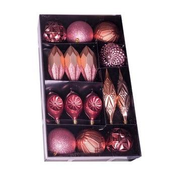 Set 16 decorațiuni de Crăciun Unimasa Surtidas, roz bonami.ro