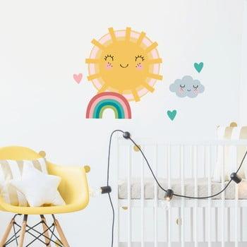 Set autocolante pentru perete Ambiance Sun, Clound and Rainbow poza bonami.ro