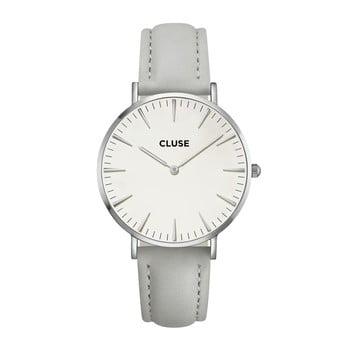 Ceas damă, curea din piele Cluse La Bohéme, gri-argintiu bonami.ro