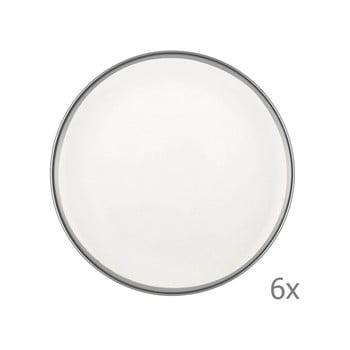 Set 6 farfurii din porțelan pentru desert Mia Halos Silver, ⌀ 19 cm, alb bonami.ro