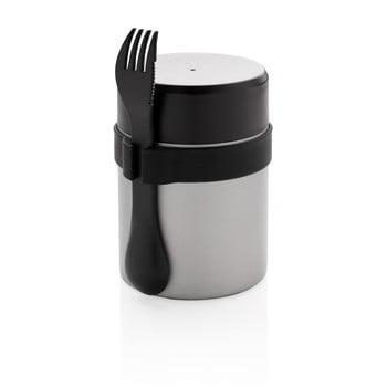 Set termos mâncare solidă și tacâmuri XD Collection, 400 ml, argintiu poza bonami.ro