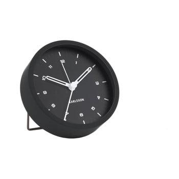 Ceas cu alarmă Karlsson Tinge, ø 9cm, negru bonami.ro