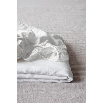 Cearșaf elastic din in Linen Tales, 180 x 200 cm, alb imagine