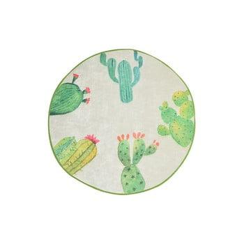 Covor baie Tropica Cactus I, ⌀ 100 cm, alb - verde poza bonami.ro