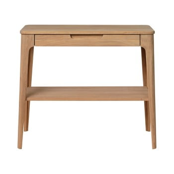 Măsuță tip consolă din lemn alb de stejar Unique Furniture Amalfi, 90 x 37 cm imagine